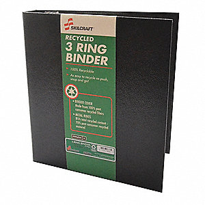 "Black 1-1/2"" 3-Ring Binder, 8-1/2"" x 11"" Sheet Size, Paper Covered Chipboard, 350 Sheet Capacity - B"