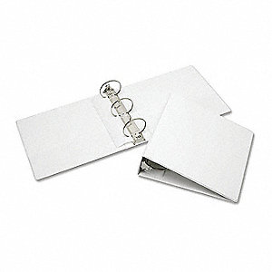 "White 3"" 3-Ring Binder, 8-1/2"" x 11"" Sheet Size, Vinyl Covered Chipboard, 700 Sheet Capacity - Binde"