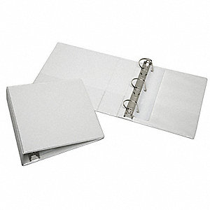 "White 1-1/2"" 3-Ring Binder, 8-1/2"" x 11"" Sheet Size, Vinyl Covered Chipboard, 350 Sheet Capacity - B"