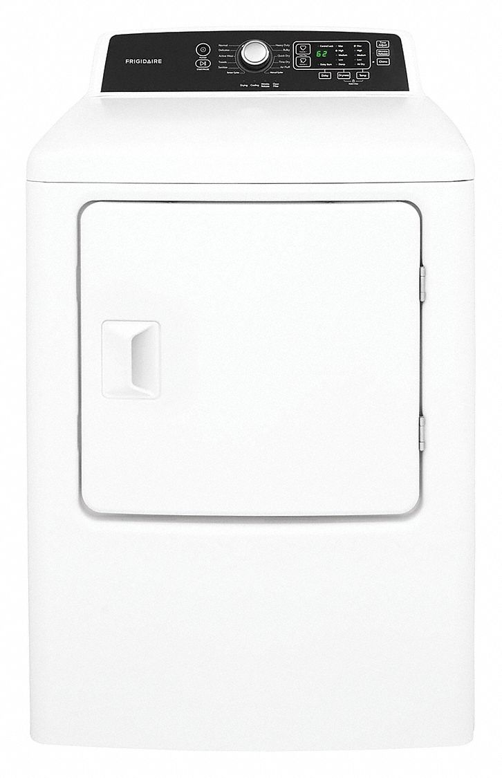 Electric Dryer, 6.7 cu ft, White, Width 27 in, Height 42 7/8 in, Depth 30 in