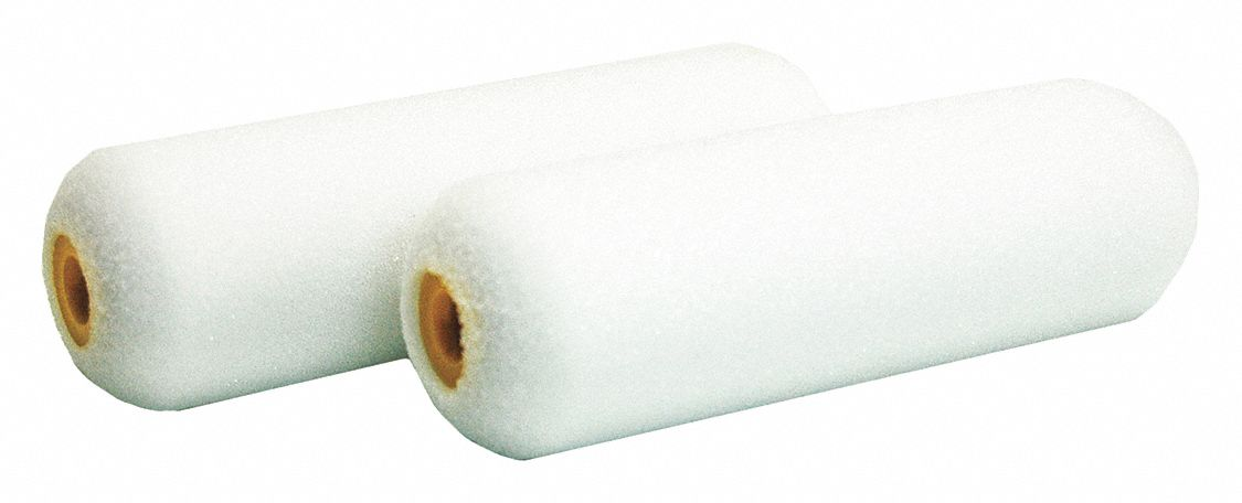 Mini Paint Roller Cover, Foam Cover Material, 4 in Length, No Nap Nap, PK 2