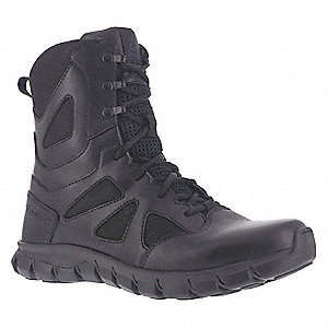 Military/Tactical Tactical Boots, Toe Type: Plain, Black, Size: 10