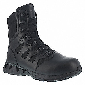 Tactical Boots,8M,Front Lace/Side Zip,PR