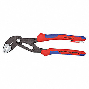V-Jaw Push Button Tongue and Groove Pliers, Ergonomic Handle