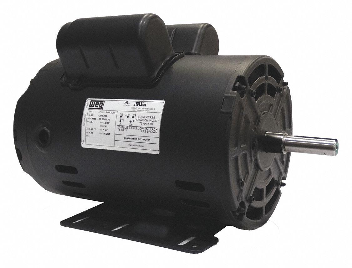 WEG 5 HP Light Duty Air Compressor MotorCapacitorStartRun3400