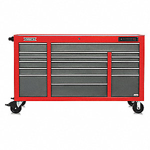"Red Heavy Duty Rolling Cabinet, 42-1/2"" H X 67"" W X 25-1/4"" D, Number of Drawers: 18"