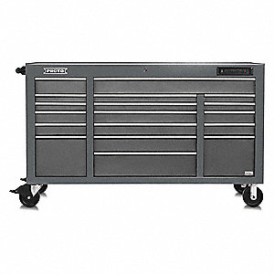 "Gray Heavy Duty Rolling Cabinet, 42-1/2"" H X 67"" W X 25-1/4"" D, Number of Drawers: 18"