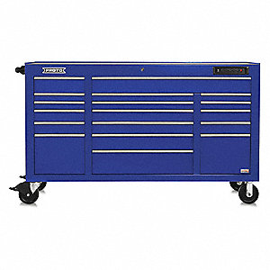 "Blue Heavy Duty Rolling Cabinet, 42-1/2"" H X 67"" W X 25-1/4"" D, Number of Drawers: 18"