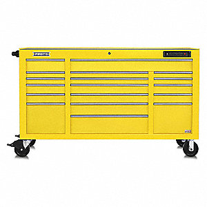 "Yellow Heavy Duty Rolling Cabinet, 42-1/2"" H X 67"" W X 25-1/4"" D, Number of Drawers: 18"