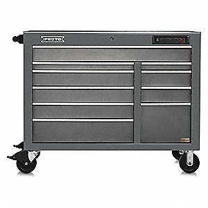 "Gray Heavy Duty Rolling Cabinet, 42-1/2"" H X 50"" W X 25-1/4"" D, Number of Drawers: 18"