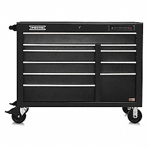 "Black Heavy Duty Rolling Cabinet, 42-1/2"" H X 50"" W X 25-1/4"" D, Number of Drawers: 18"