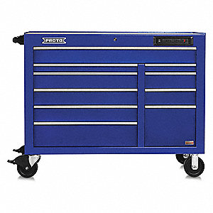 "Blue Heavy Duty Rolling Cabinet, 42-1/2"" H X 50"" W X 25-1/4"" D, Number of Drawers: 18"