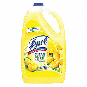 Disinfectant Cleaner, 144 oz. Bottle, Sparkling Lemon & Sunflower Essence Liquid, Ready to Use, 4 PK