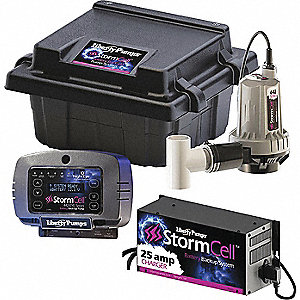 Battery Backup Sump Pump with 16.0 Amps/GPH of Water @ 5 Ft. of Head