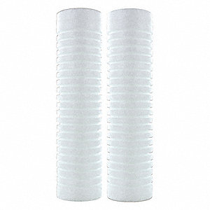 "50 Micron Rating Sediment Grooved Filter Cartridge, 2-1/2"" Diameter, 9-7/8"" Height, 7.00 gpm"
