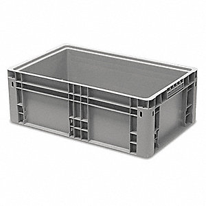 "Straight Wall Container, Gray, 8-45/64""H x 23-29/32""L x 14-29/32""W, 1EA"