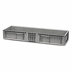 "Straight Wall Container, Gray, 7-1/2""H x 47-29/32""L x 14-29/32""W, 1EA"