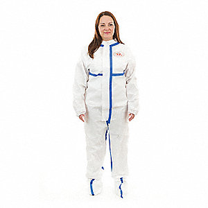 Disposable Coveralls with Elastic with Finger Loops Material, White, L
