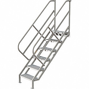 "Steel Stair Unit, 57"" Top Step Height, 450 lb. Load Capacity, Perforated Step Tread"