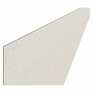"Rigid Vinyl Sheet, White, Plastic, 96"" Length, 48"" Height, 3/64"" Thickness"