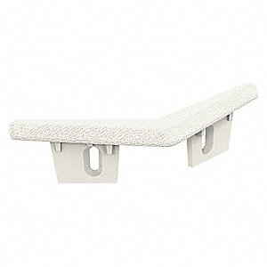 "Wall Protection Guard Cap, Antique White, Plastic, 3"" Length, 3/8"" Height, 3/32"" Thickness"