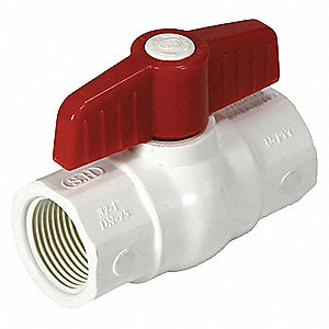 "Ball Valve,  PVC,  2-Way,  1-Piece,  Pipe Size 1/2"",  Tube Size 1/2"",  Connection Type FNPT x FNPT"