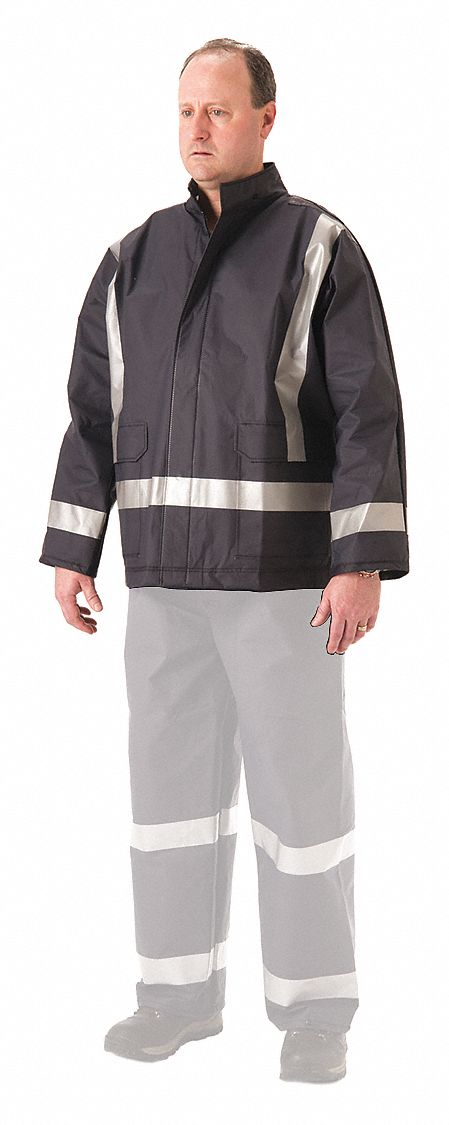 Flame Resistant Rain Jacket, PPE Category: 2, High Visibility: Yes, Polyurethane, L, Blue