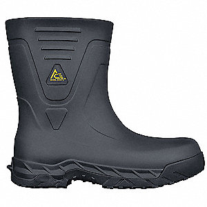 Rubber Boot,  Men's,  12,  Mid-Calf,  Plain Toe Type,  EVA, Rubber,  Black,  1 PR