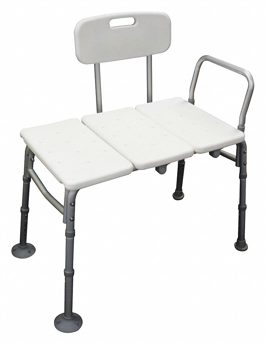 Length 31 in,  Adjustable,  Aluminum, Plastic,  Bench,  White