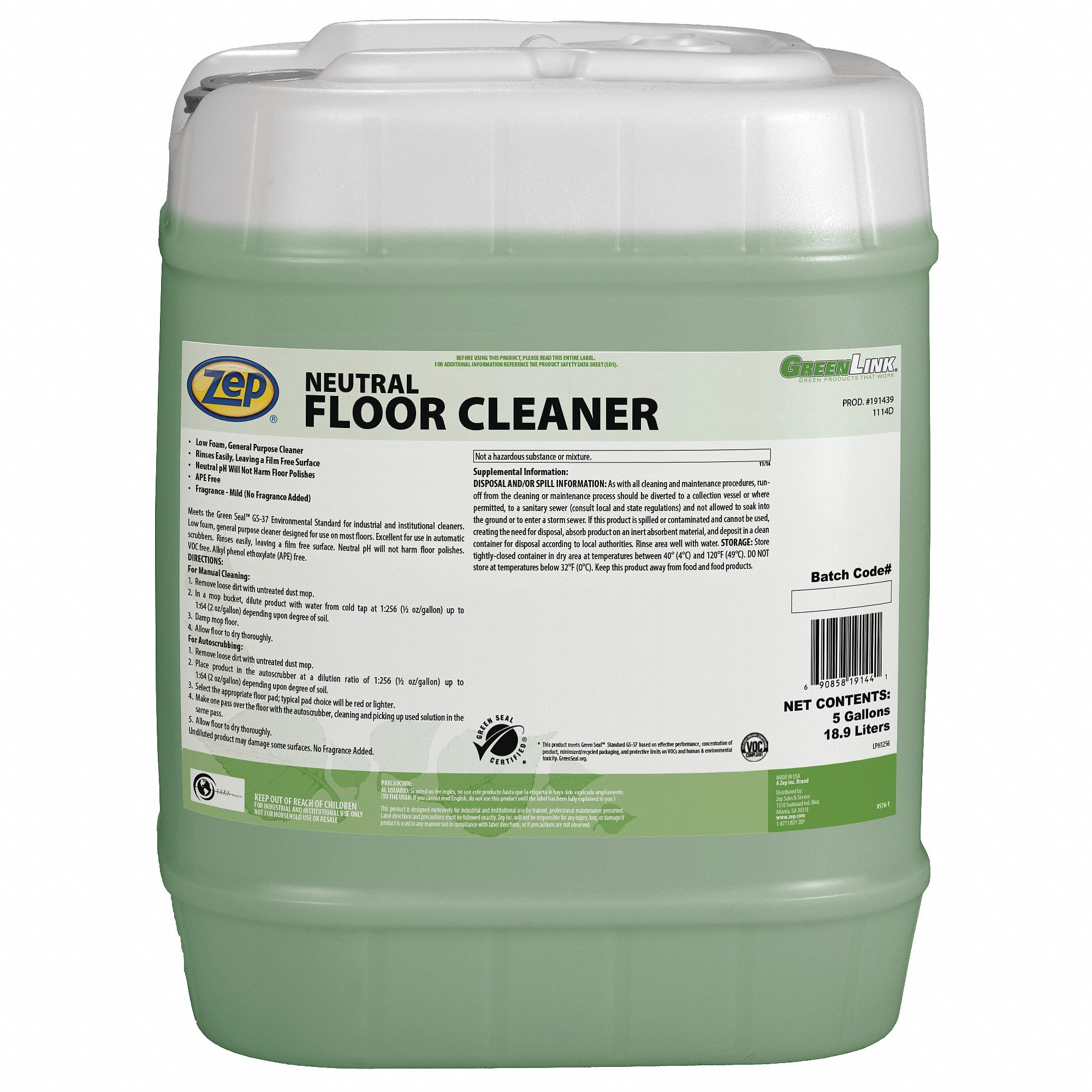 Zep Floor Cleaners And Maintainers Floor Cleaning Products Grainger Industrial Supply