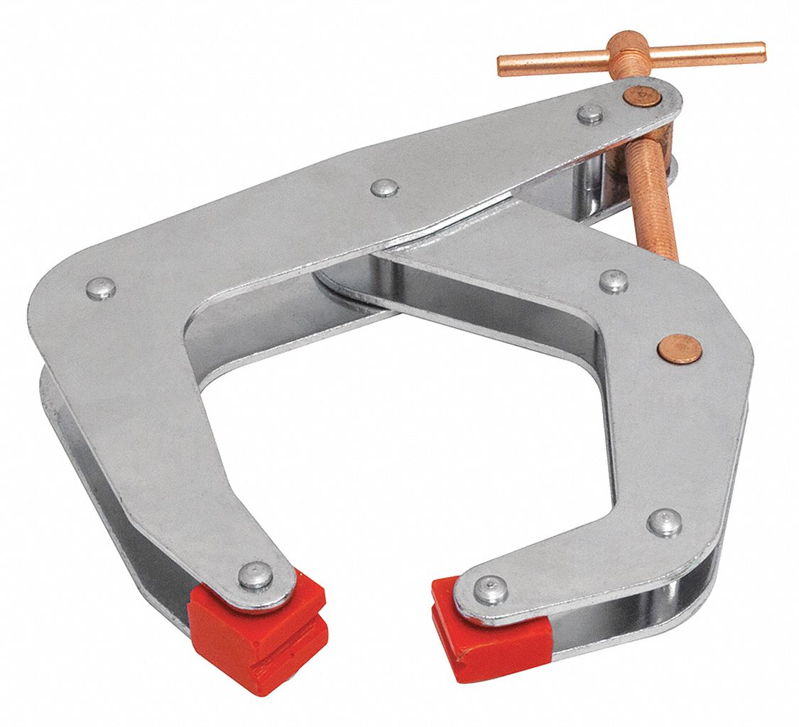 Cantilever Clamp,  Steel,  Zinc Plated,  6 in Max. Opening,  5 1/2 in Throat Depth