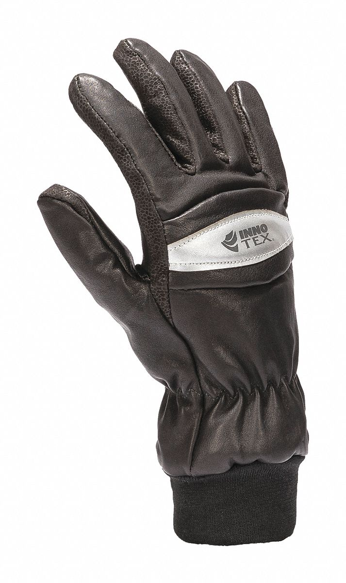 Firefighters Gloves,  Cowhide Leather Palm Material,  Size XL,  Black,  Wristlet Cuff,  1 PR