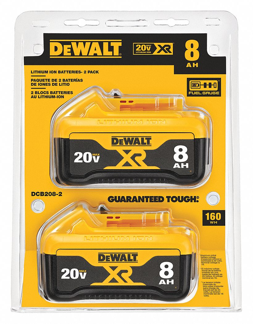 Dewalt Battery 8 Ah Li Ion 20v Dc Pk 2 55ac75 Dcb208 2 Grainger