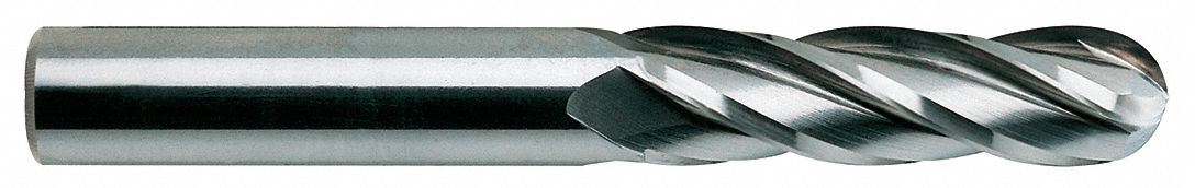 Ball End Mill,  Carbide,  Bright (Uncoated),  Non-Coolant Through