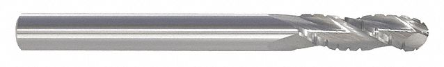 Ball End Mill,  5/8 in,  Carbide,  Bright (Uncoated),  Non-Coolant Through
