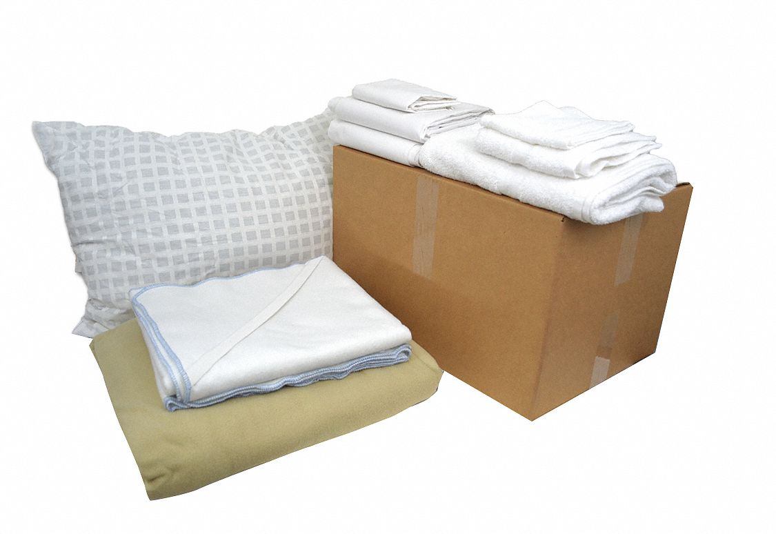 Twin Pre-Washed, Bedding and Bath Kit, Beige, White; PK1