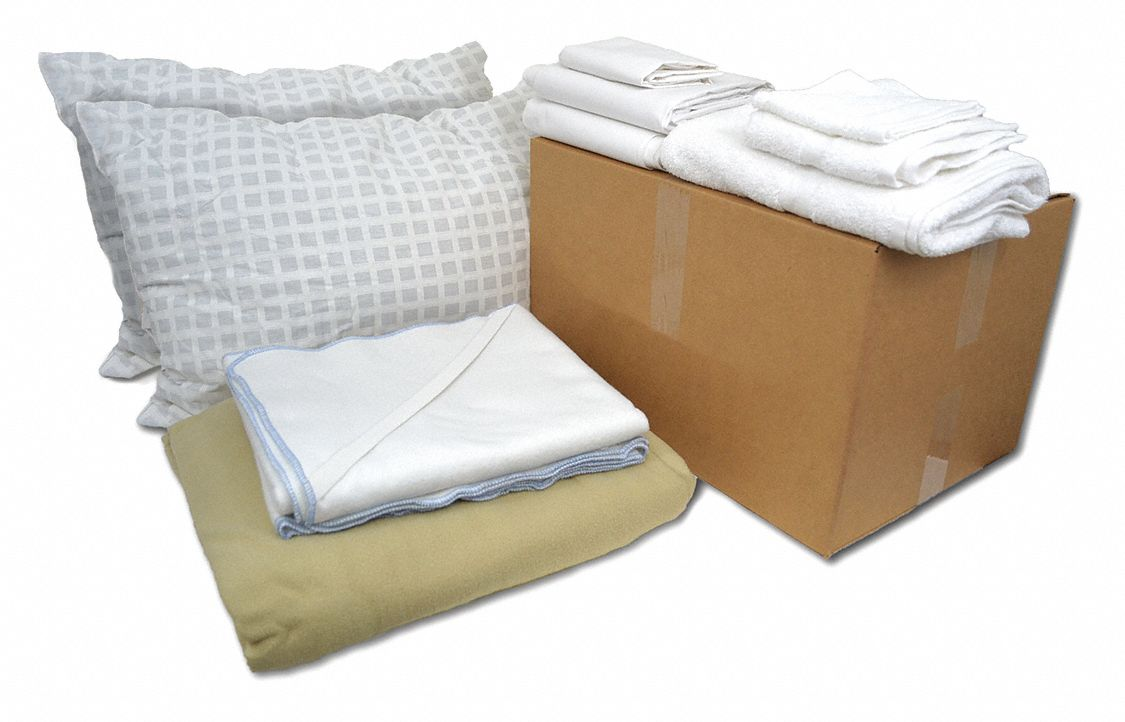 Full Bedding and Bath Kit, Beige, White; PK1
