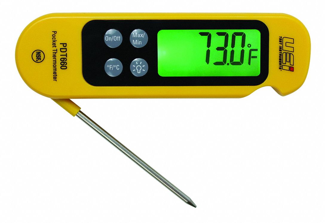 Item Digital Pocket Thermometer,  Temp. Range (F) -58° to 572°F,  Temp. Range (C) -50 to 300°C