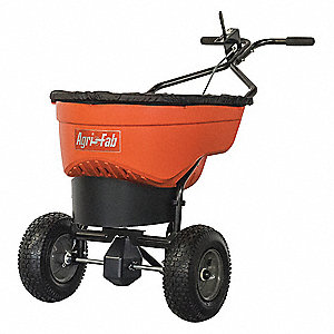 Broadcast Spreader, 130 lb. Capacity, Pneumatic Wheel Type, Spinner Drop Type, Fixed T Handle
