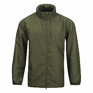 "Packable Unlined Wind Jacket, XL Fits Chest Size 46"" to 48"", Olive Color"