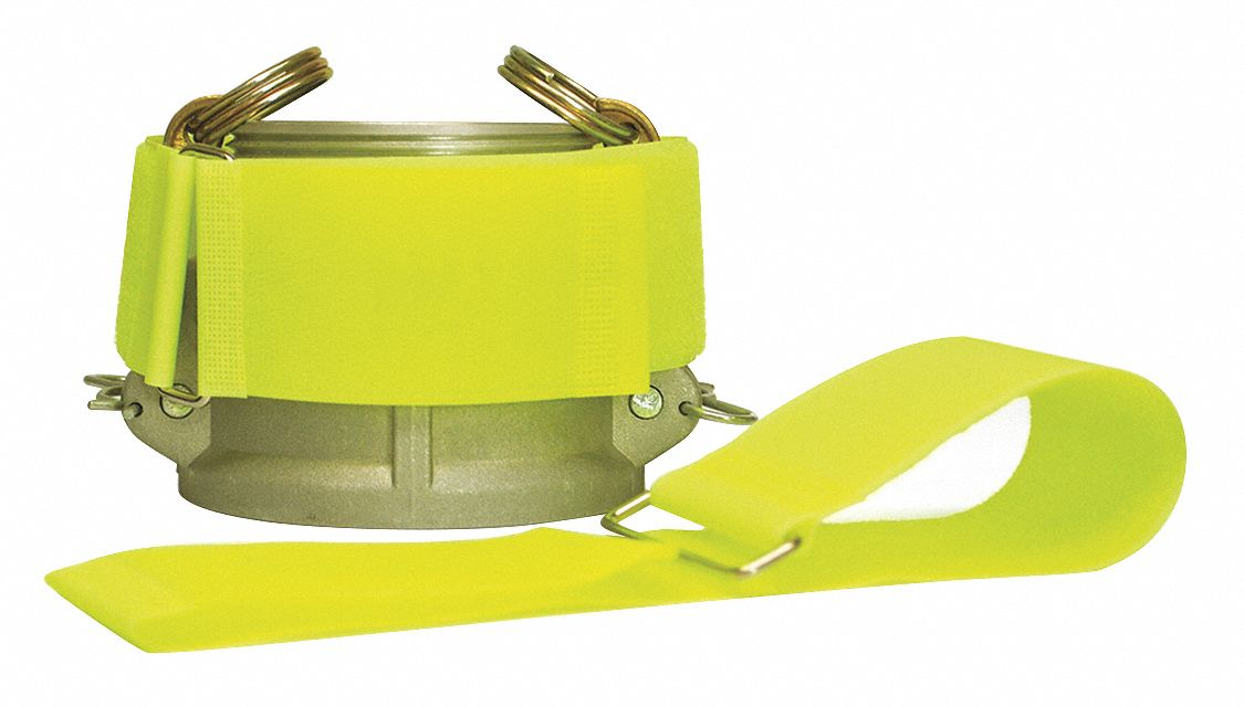 Hook-and-Loop-Type Cam Arm Strap with No Adhesive, Neon Yellow, 2 in x 12 in, 10PK