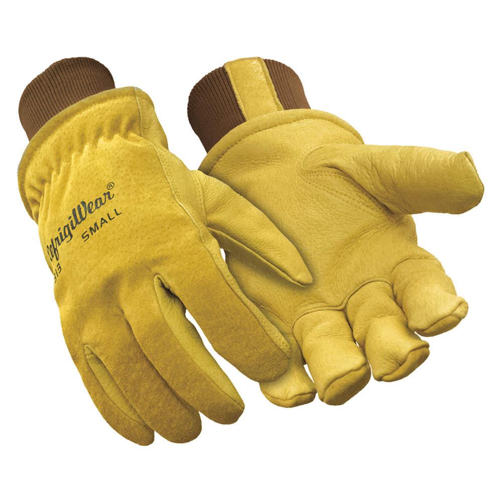 REFRIGIWEAR 0317RGLDMED Leather Gloves,Gold,M,PR
