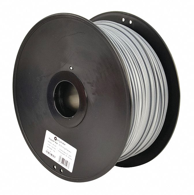 3D Printing Filament,  PLA,  Gray,  Diameter 3 mm,  3.00 kg