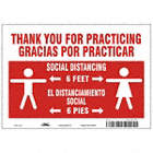 Bilingual Spanish - Stand Here - Thank You For Practicing Social Distancing Sign