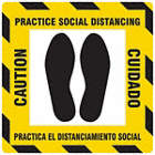 Bilingual Spanish - Caution - Practice Social Distancing Floor Sign