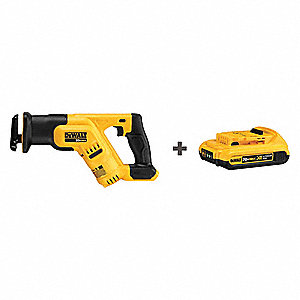 "20.0V Cordless Reciprocating Saw, Battery Included, 1-1/8"" Length of Stroke, Straight Cut"