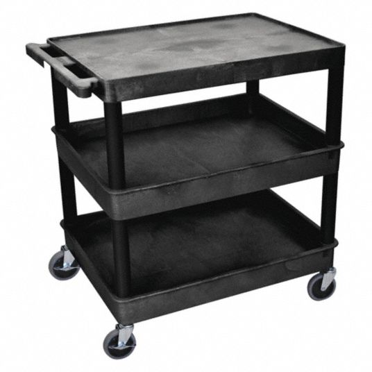 Grainger Approved Utility Cart With Lipped Plastic Shelves 400 Lb Load Capacity Number Of Shelves 3 13w653 Tc211 B Grainger