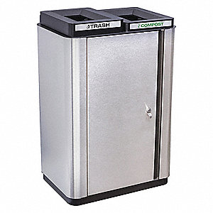 Silver, Black Recycling Receptacle