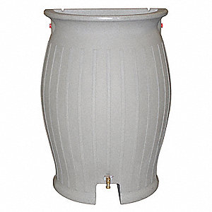 "55 gal. Rain Barrel Direct Inlet Kit, Granite Polyethylene, Height 44"", Diameter 16"""
