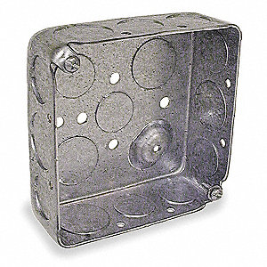 "Electrical Box, Galvanized Zinc, 1-1/2"" Nominal Depth, 4"" Nominal Width, 4"" Nominal Length"